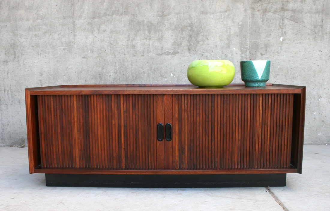 Sold 1960s Tambour Door Record Cabinet